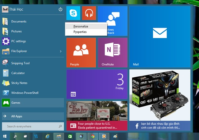 Thủ thuật windows 10 Technical Preview